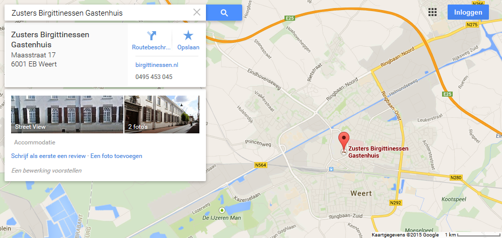 Gastenhuis vindbaar via Google Maps